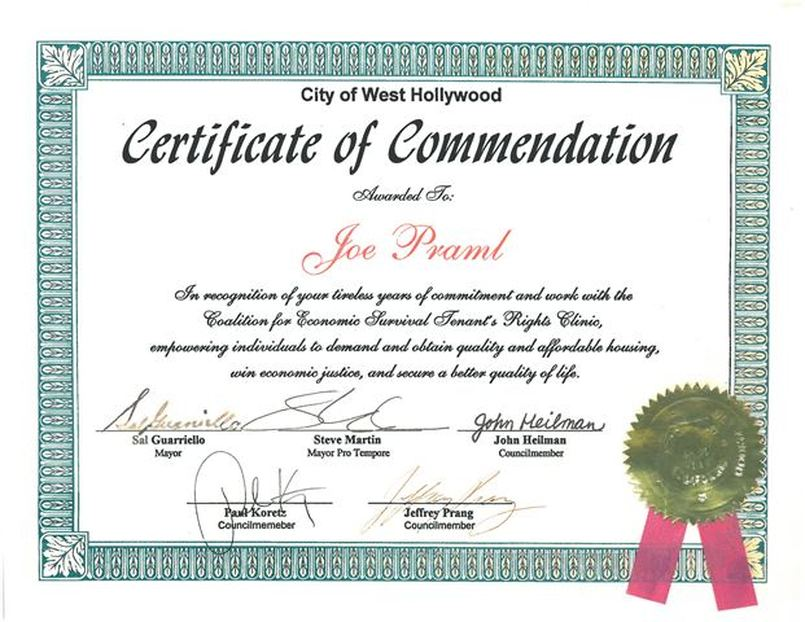 W Hollywood Certificate Of Commendation